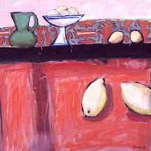 Лимоны на красном столе